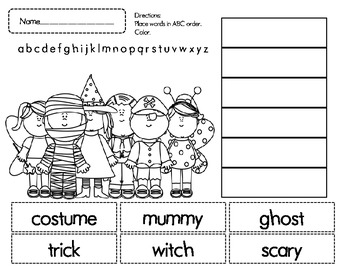 Halloween ABC Order Cut and Paste