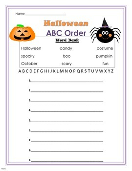 Halloween ABC Order Worksheet