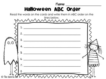 Halloween ABC Order and Write the Room