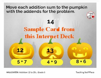 Halloween ADDITION 12 to 20 ... MATH Pumpkins... Internet Paperless Digital Deck