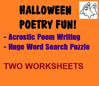 Halloween Acrostic Poem Writing and HUGE Word Search Puzzle