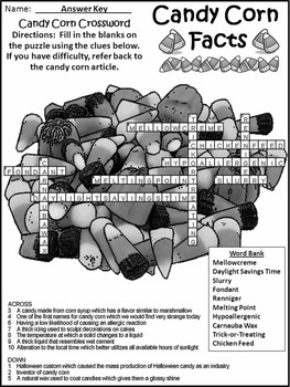Fall Activities: Candy Corn Facts Activity Packet