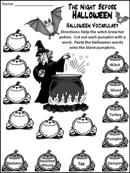 Halloween Language Arts Activities: Night Before Halloween Activity Packet