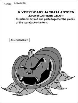 Halloween Reading Activities: A Very Scary Jack-o-lantern Activity Packet
