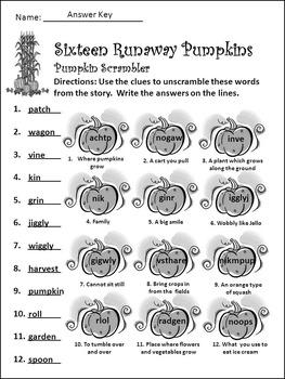 Fall Reading Activities: Sixteen Runaway Pumpkins Halloween Activity Packet