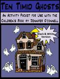 Halloween Reading Activities: Ten Timid Ghosts Halloween Activity Packet - B/W