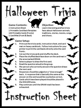 image about Printable Halloween Trivia named Halloween Enjoyable: Halloween Trivia Card Recreation - B/W Variation