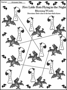 Halloween Activities: Five Little Bats Flying in the Night Activity Packet