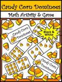 Halloween Activities: Candy Corn Dominoes Halloween Math Game Activity - B/W