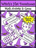 Halloween Activities: Witch's Hat Dominoes Halloween Game Activity Packet - B/W