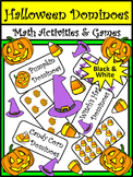Halloween Activities: Halloween Dominoes Math Game Activity Bundle - B/W