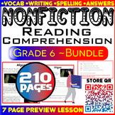 NonFiction Reading Comprehension Passages & Questions   Bundle   Grade 6