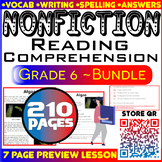 Nonfiction Reading Passages & Questions | Bundle | 210 Pag