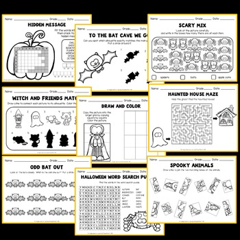 Halloween Activities (Kindergarten, 1st and 2nd Grade Worksheets)