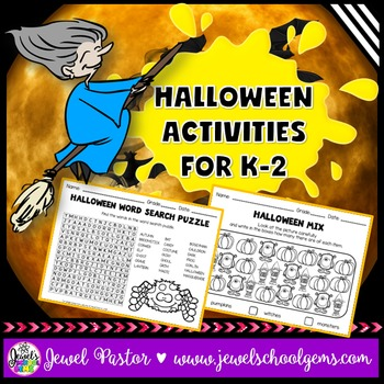 Halloween Activities (Kindergarten, 1st and 2nd Grade Worksheets)
