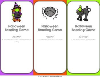 Halloween Activity: Halloween Reading Game
