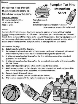 Halloween Activities: Pumpkin Ten Pins Halloween Bowling Game