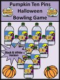 Halloween Activities: Pumpkin Ten Pins Halloween Bowling Math Game Activity - BW