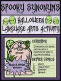 Halloween Activities: Spooky Synonyms Halloween Language Arts Activity - B/W