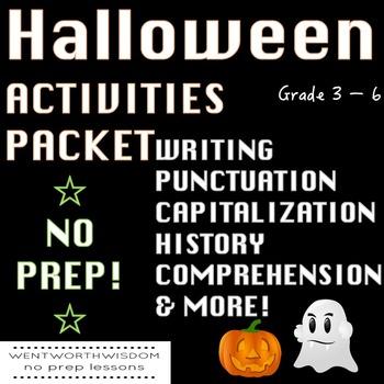 Halloween Activities, Halloween writing, Halloween English, Halloween Worksheets