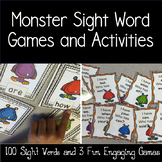 Sight Word Activities and Game on Cute Monster Cards