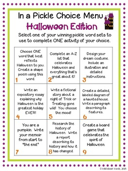 Halloween Writing Activities w/ Choice menu, Game, rubric, & activity templates