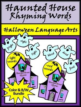 Halloween Activities: Haunted House Rhyming Words Activity Packet