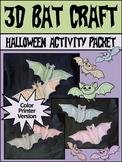 Halloween Activities: 3D Bats Craft Activity Packet - Color Version