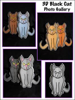 Halloween Activities: 3D Black Cat Halloween Craft Activity Packet - Color