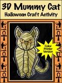 Halloween Activities: 3D Egyptian Mummy Cat Halloween Craft Activity - Color
