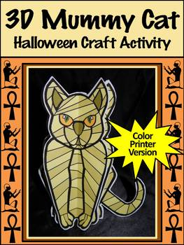 Halloween Activities: 3D Egyptian Mummy Cat Halloween Craft Activity - Color