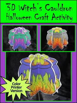 Halloween Activities: 3D Witch's Cauldron Halloween Craft Activity Packet -Color
