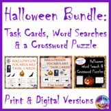 Halloween Activities BUNDLE with Task Cards, Word Searches