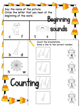 Halloween Activities: Beginning sounds, Counting, Patterns, Cutting pages