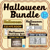 Halloween Activities Bundle: Escape Room, Color by Number and Halloween Boxes