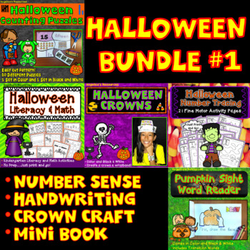 Halloween Activities Bundle : Literacy, Math, Crowns, Mini Book, and Puzzles