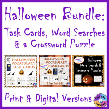 Halloween Activities BUNDLE with Task Cards, Word Searches & Crossword Puzzle