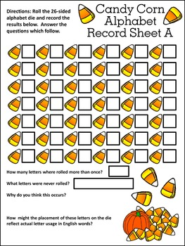 Halloween Activities: Candy Corn Alphabet Roll & Cover Activity Packet Bundle