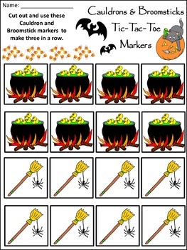 Halloween Activities: Cauldrons & Broomsticks Tic-Tac-Toe Halloween Game Bundle