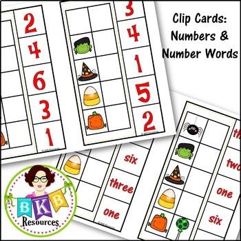 Halloween Activities ● Clip Cards ● Numbers 1-10 ●Number Words ● Ten Frames