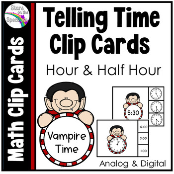 Halloween Activities * Dracula Telling Time * Time To The Hour & Half Hour