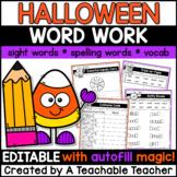 Halloween Activities | EDITABLE Halloween Word Work
