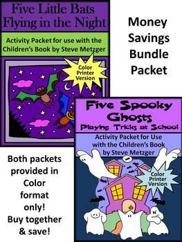 Halloween  Activities: Five Little Bats & Five Spooky Ghosts Bundle - Color