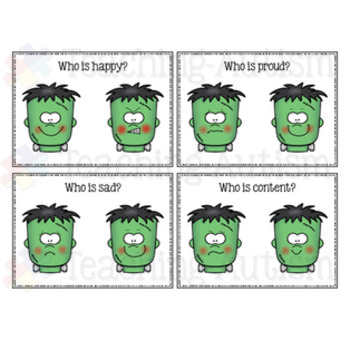 Feelings and Emotions Halloween Task Cards Frankenstein