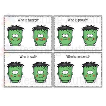 Feelings and Emotions Halloween Task Cards Frankenstein