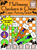 Halloween Activities: Halloween Checkers & Chess Game Activity Bundle -Color&BW