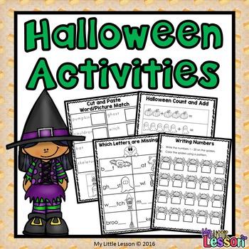 Halloween Activities: Math and English Worksheets