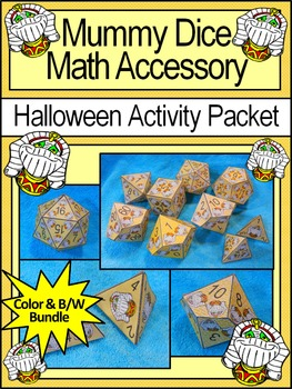 Halloween Activities: Mummy Dice Templates Halloween Math Activity Bundle