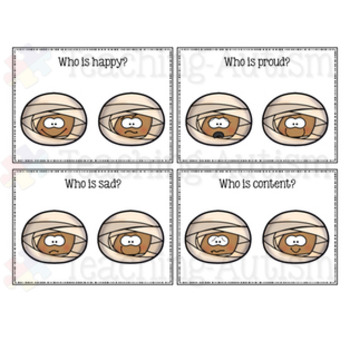 Halloween Activities - Mummy Feelings / Emotions Task Cards