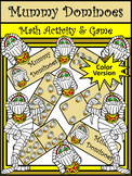 Halloween Activities: Mummy Halloween Dominoes Math Game Activity Packet - Color